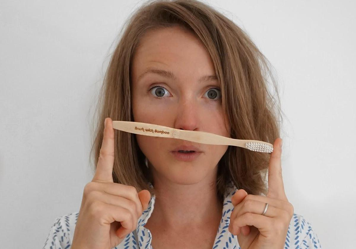 Kate Arnell with bamboo toothbrush