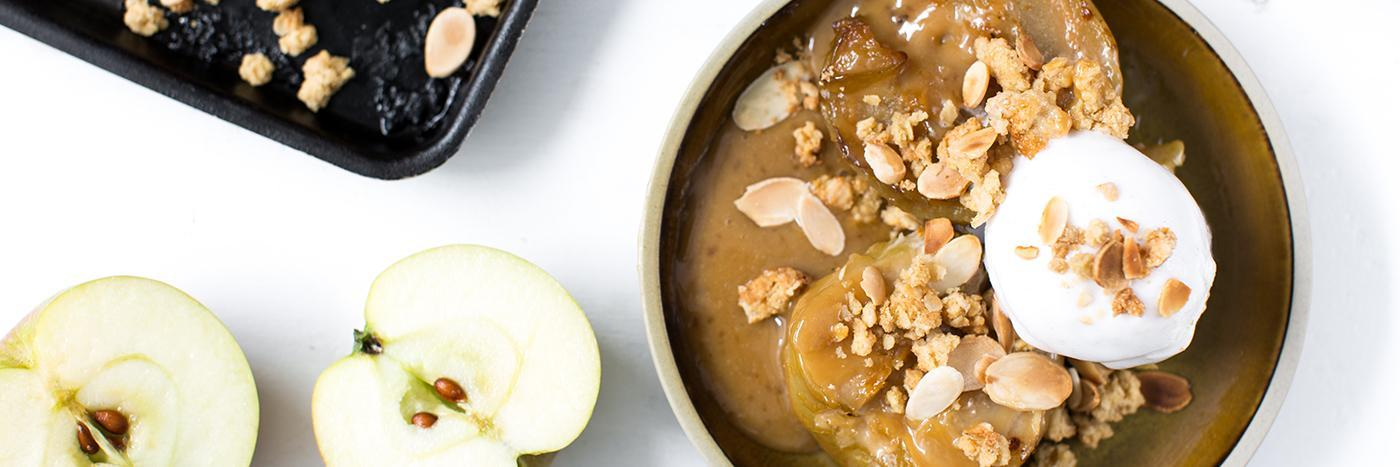Baked apples with miso butterscotch and almond crumble