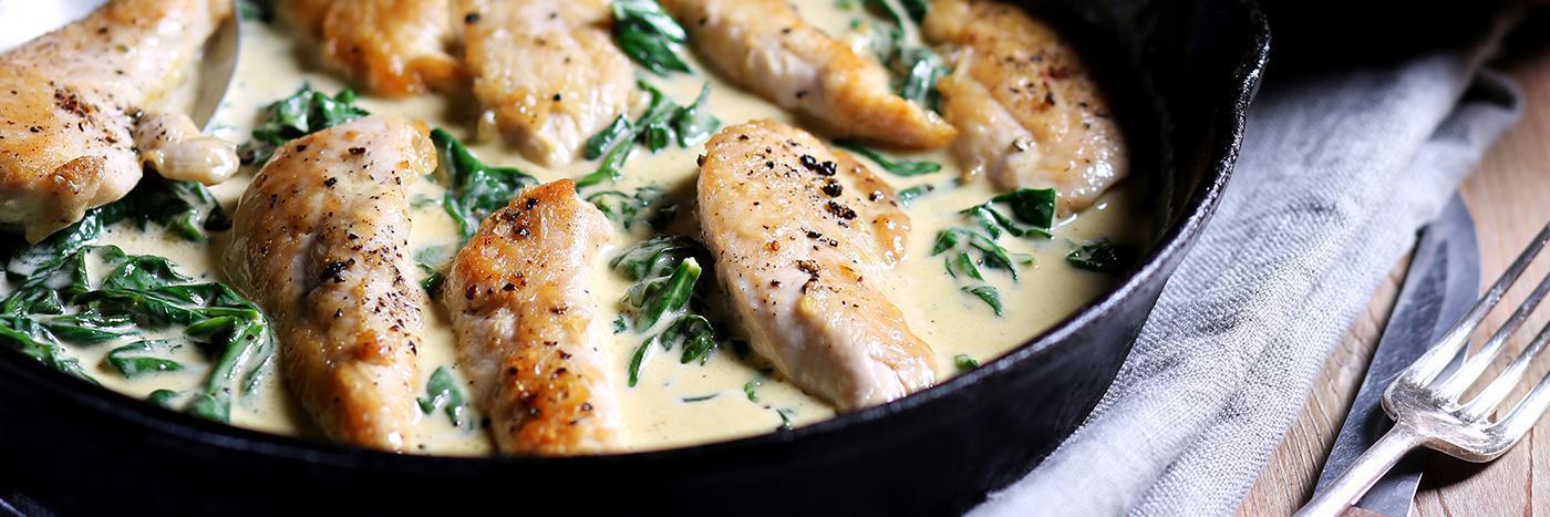 Chicken with creamy parmesan & spinach sauce