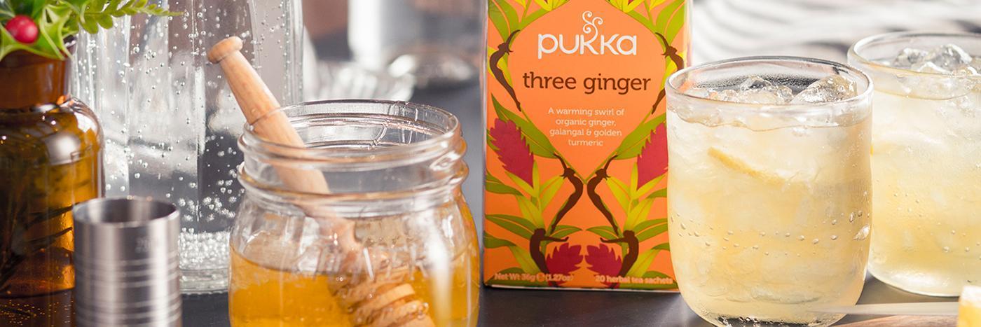 Three ginger vodka spritzer