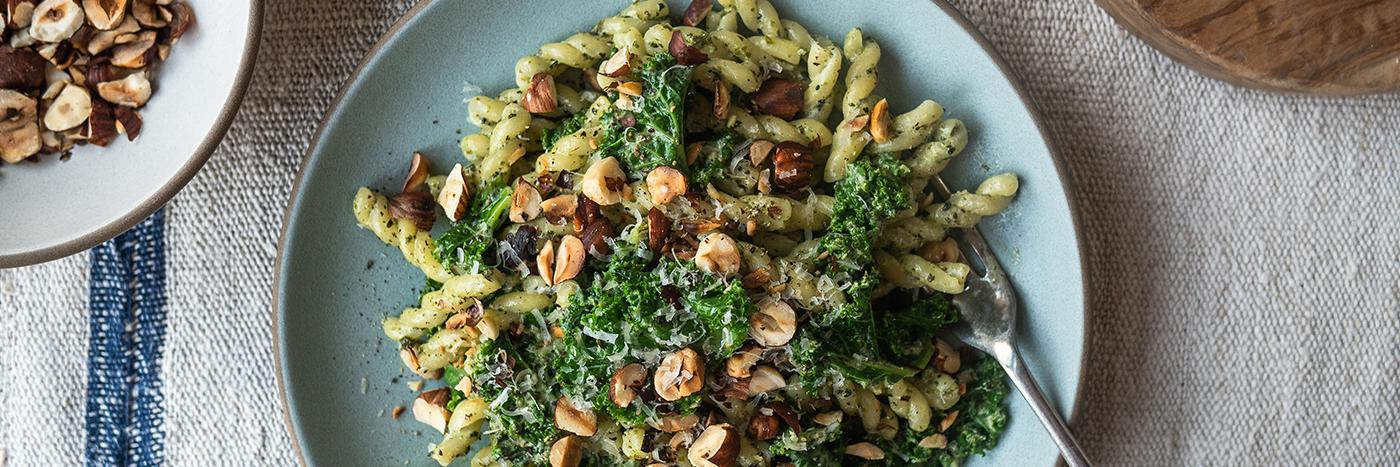 Kale pesto and hazelnut pasta