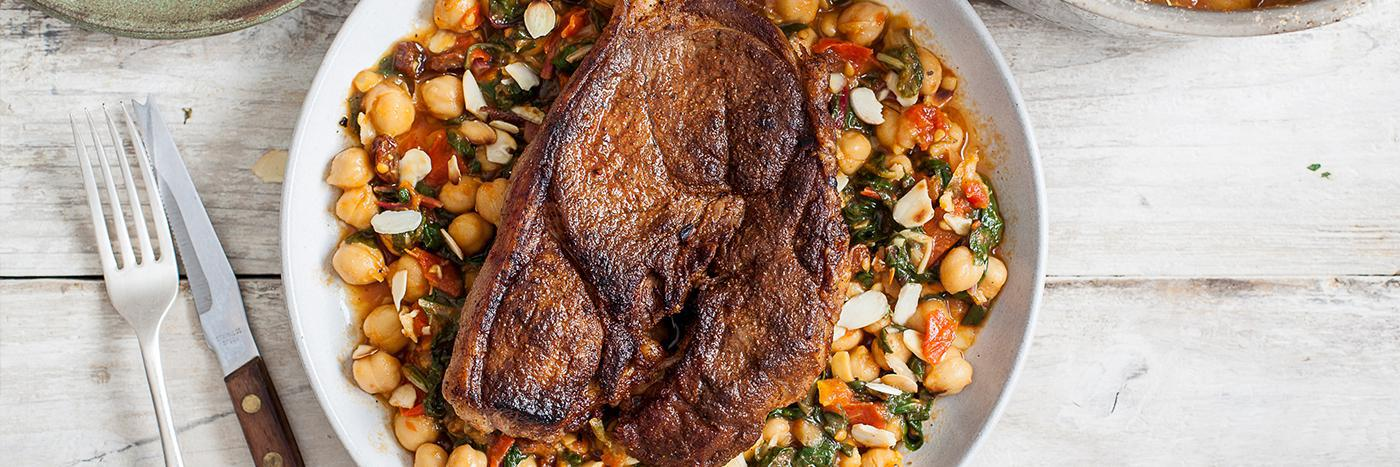 Moroccan lamb steaks with wild garlic & chickpeas