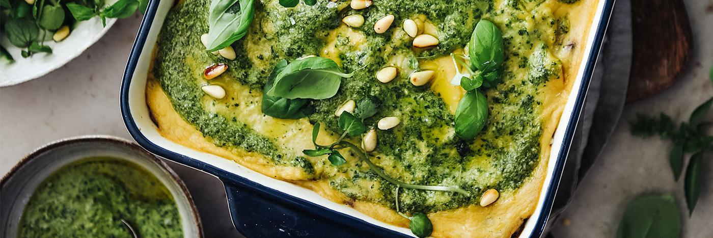 Aubergine and lentil lasagne