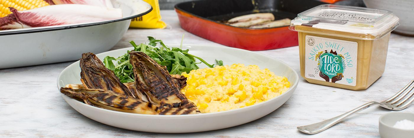 Soft polenta and sweetcorn with grilled red chicory