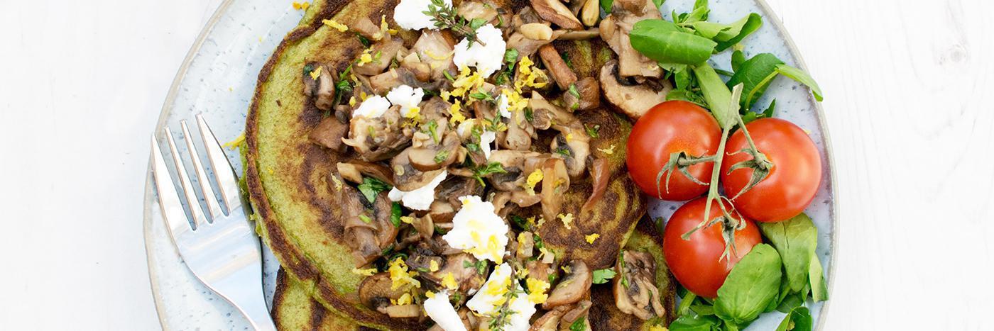 Spinach and mushroom pancakes