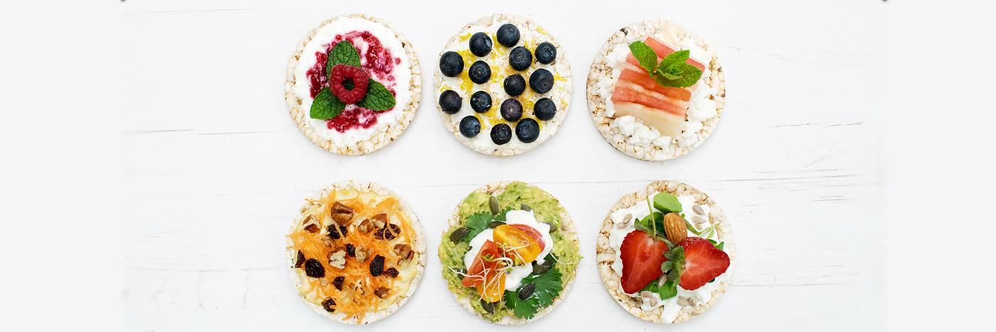 Rice cakes with toppings