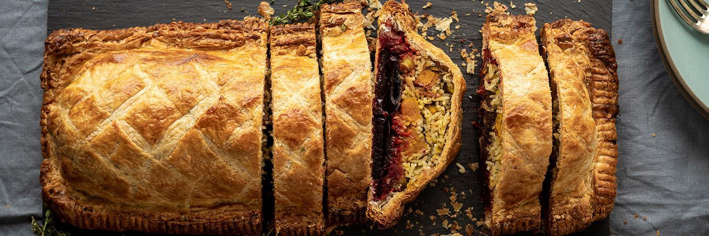 Squash, mushroom, leek and beetroot pie