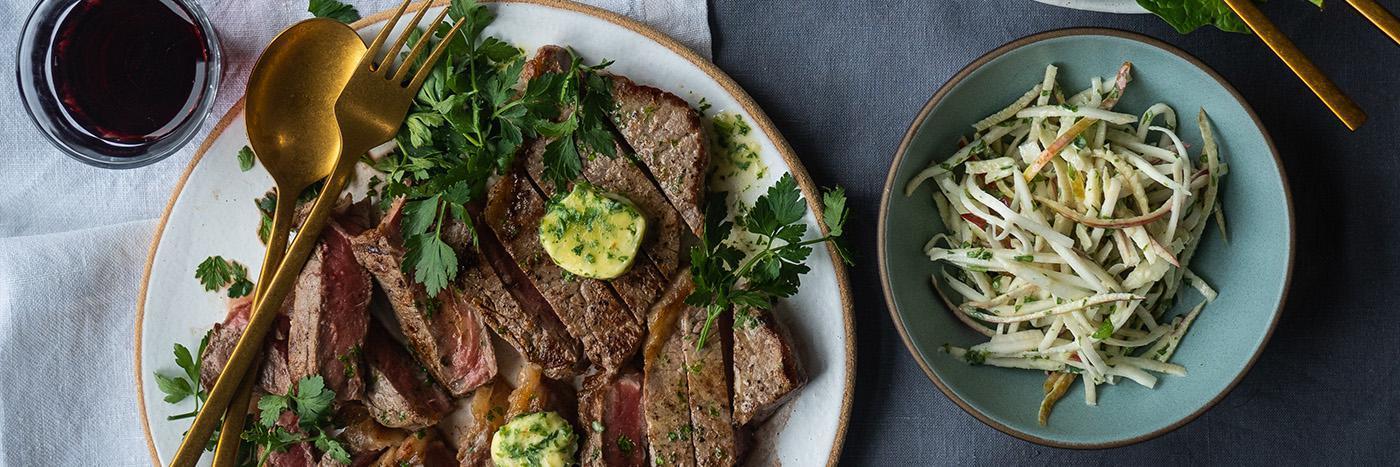 Steak with celeriac and apple slaw